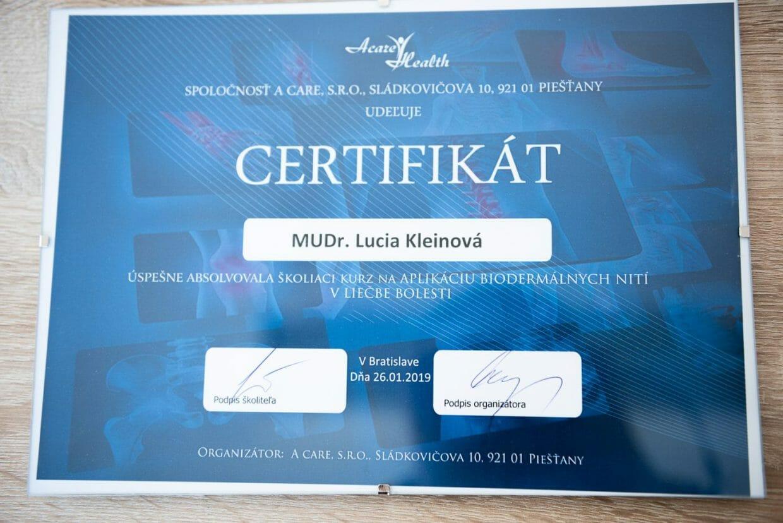 Dr. Kleinová - certifikát Biodermálne nite